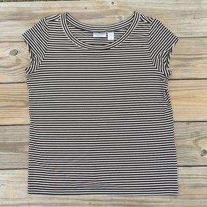 Chico's Traveler's Black and Cream striped blouse